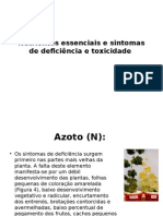 Nutrientes Essenciais e Sintomas de Deficiência e Toxicidade