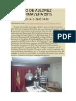 Resumen Copa Primavera 2015 Club Ajedrez Torrefiel