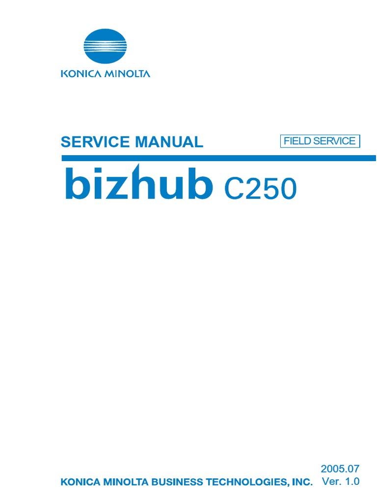 bizhub c250 field service ac power plugs and sockets electrical rh scribd com konica minolta c 250 service manual konica minolta c 250 service manual