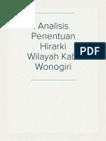 Analisis Penentuan Hirarki Wilayah Kab. Wonogiri