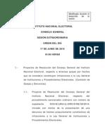 17-06-15 Orden del Día de la Sesión Extraordinaria del INE