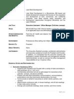 Lake West Development - Executive Assistant - Job Description - 6-17-2015