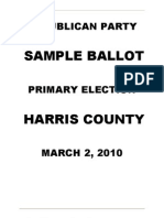 Harris County Republican sample ballet for primary