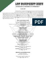 QUICK START EQUIPMENT MENU for ASTONISHING SWORDSMEN & SORCERERS OF HYPERBOREA™