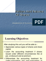 Forfeiture and Reissue of Shares