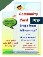 2015 Greece Historical Society Community Yard Sale Vendor Flyer