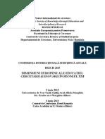CONFERINŢA INTERNAŢIONALĂ ŞTIINŢIFICĂ ANUALĂ DEECIS 2015 DIMENSIUNI EUROPENE ALE EDUCAŢIEI, CERCETĂRII ŞI INOVĂRII ỈN SECOLUL XXI