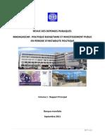 Revue Des Depenses Publiques Madagascar Politique Budgetaire Et Investissement Public en Periode d Instabilite Politique Banque Mondiale 2011