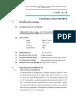 MODELO DE Memoria Descriptiva Canal 25 de Junio