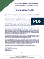 JMBM Hotel Acquisition Checklist