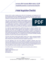 JMBM Hotel Acquisition Checklist