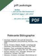 Einstieg in Die Lexikologie I