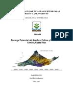 Recarga Potencial de Los Acuiferos Colima y Barva_SENARA_Ma