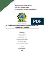 Informe de Ambientador Desinfectante
