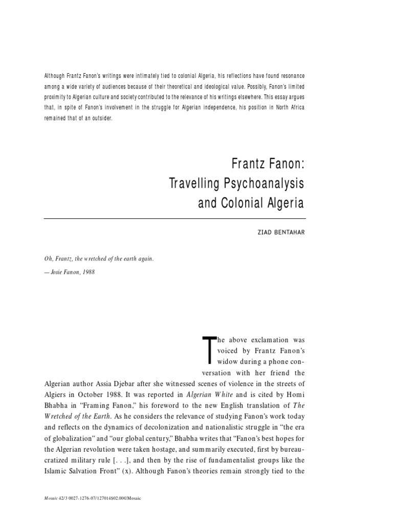 frantz fanon travelling psychoanalysis and colonial ziad frantz fanon travelling psychoanalysis and colonial ziad bentahar frantz fanon