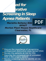The Need for Perioperative Screening in Sleep Apnea Patients