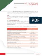 2.6 List of Testing Equipments