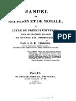 Abbé Guillaume OEGGER Manuel de Religion et de Morale 1827
