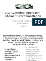 U4 the Functional Approach. Literal-Direct Translation