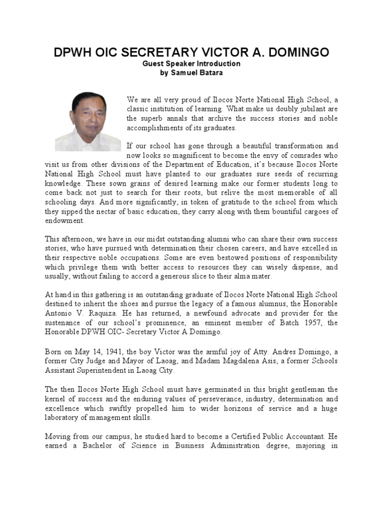 HON. VICTOR A. DOMINGO - Guest Speaker Introduction by ...