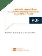 Acuerdo de investidura PP-C's Madrid