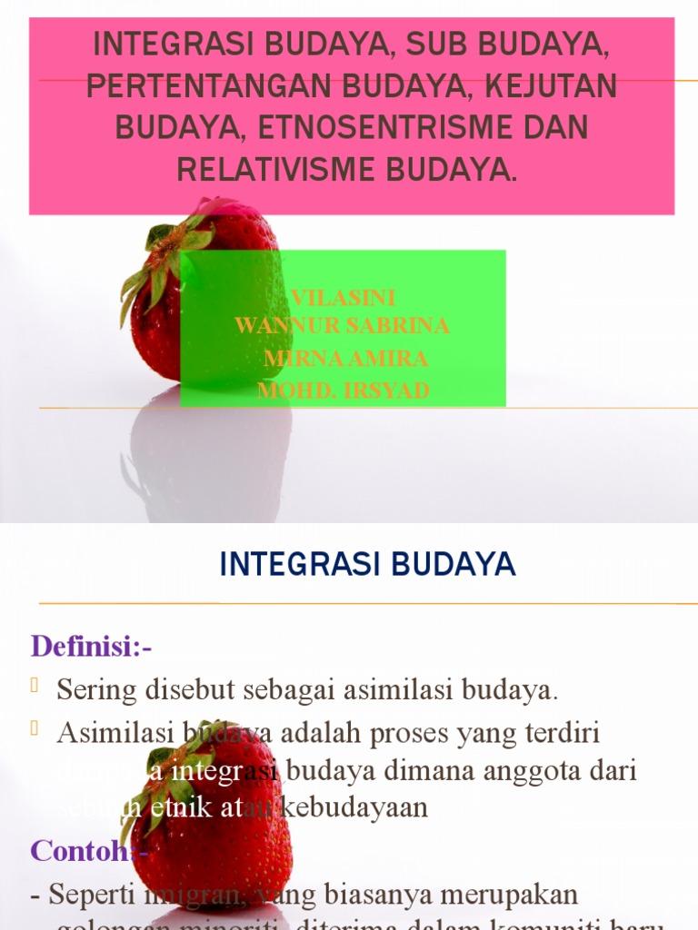 Integrasi Budaya Sub Budaya An Budaya