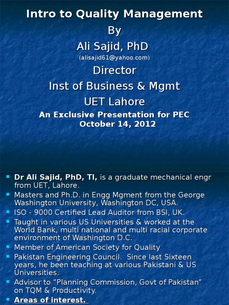 Total Quality Management Tqm Lecture Profit Accounting
