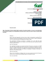 Courrier unitaire de dénonciation de l'accord collectif relatif à la gestion de la période transitoire, IRP et vote électronique