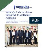 18-06-2015 E-consulta.com - Participa RMV en El Foro Industrial de Wolfsburg, Alemania