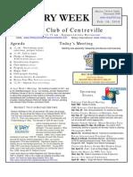Centreville VA Rotary Club Bulletin 16Feb10