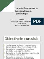 Metode avansate de cercetare in psihologia clinica si psihoterapie