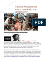 Justice in Sri Lanka With Just 273 Political Prisoners in Custody, How Many Have Disappeared