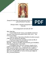 Mensaje de Nuestra Señora de Coromoto Para El Pueblo de Venezuela