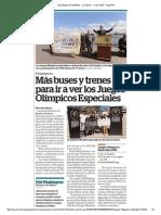 Más buses y trenes para ir a ver los Juegos Olímpicos Especiales