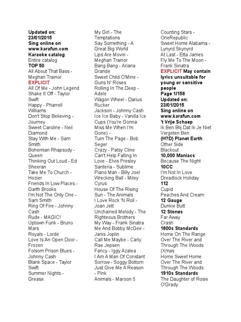 Enlarged Karaoke Songbook American Musicians Popular Music
