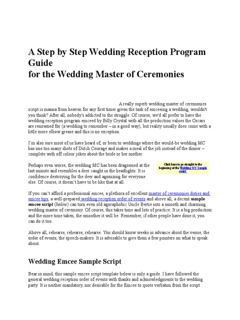 A Step by Step Wedding Reception Program Guide.docx   Groomsman ...
