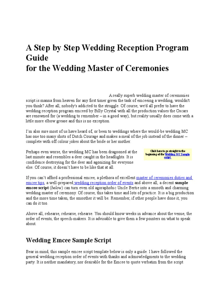 A Step by Step Wedding Reception Program Guide.docx | Groomsman ...