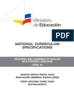 02 National Curriculum Specifications EFL Level A1 Agosto 2014