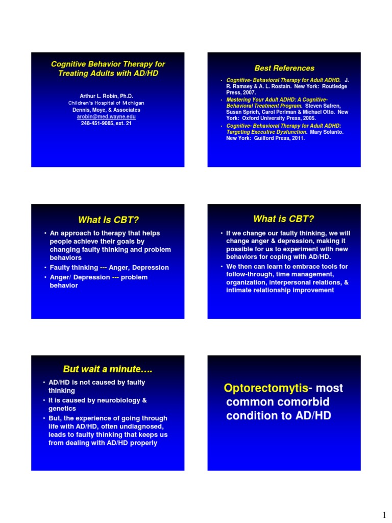 527-Cbtadultadhd Chadd2014 Handout | Attention Deficit Hyperactivity  Disorder | Cognitive Behavioral Therapy
