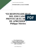 Philippe Meirieu - Responsabilidad del Educacdor