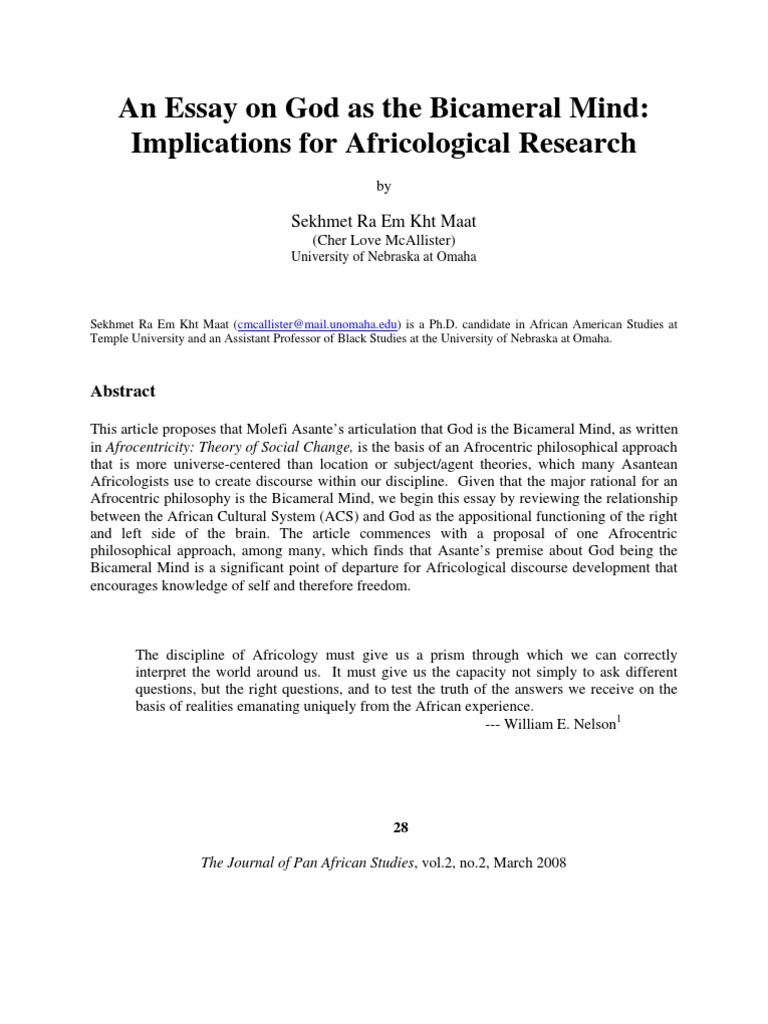 Argumentative Essay Thesis Example  Proposal Essays also What Is Thesis Statement In Essay An Essay On God As The Bicameral Mind  Afrocentrism  Mind Types Of English Essays