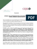 Comunicado Cejil - Aprodeh sobre el caso Chavín de Huántar