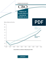 Budgetary and Economic Effects of Repealing the Affordable Care Act