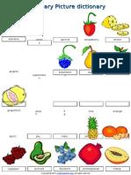02 Food Fruit Vocabulary Pictionary Poster Worksheet2015
