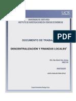 Descintaralizacion de Finanzas Locales
