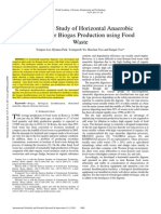 Pilot Scale Study of Horizontal Anaerobic Digester for Biogas Production Using Food Waste
