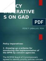 Policy Imperatives on Gad