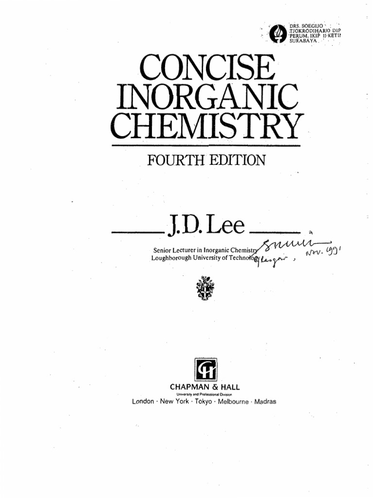 Concise Inorganic Chemistry 4th Edition by J D lee Electron