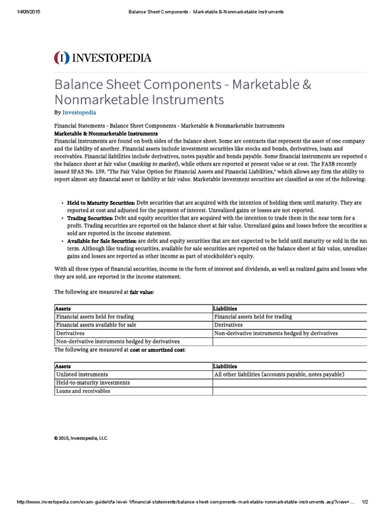 610 Balance Sheet Components Marketable Nonmarketable
