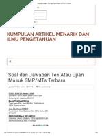 Soal Dan Jawaban Tes Atau Ujian Masuk SMP_MTs Terbaru